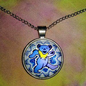 Grateful Dead bear stainless pendant necklace NIP